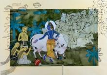 Religious Watercolor Art Painting title Surabhi by artist Yojana Dehankar