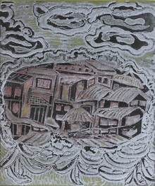 art, printmaking, viscosity, paper, landscape