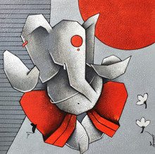 Religious Acrylic Art Painting title Ganesha 7 by artist Paras Parmar