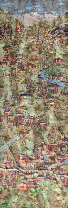 Landscape Mixed-media Art Painting title Lift Of Kangra by artist Pratik Raut