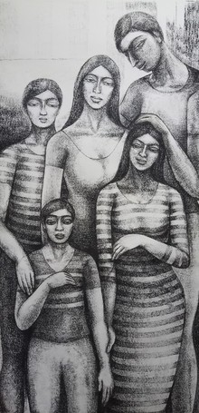 Figurative Dry-pastel Art Drawing title Family by artist Sumana Nath De