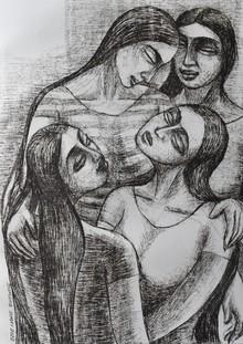 Figurative Dry-pastel Art Drawing title Four Friends by artist Sumana Nath De
