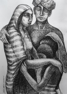art, drawing, paper, dry pastel, figurative