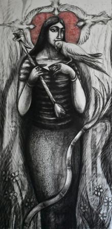 Figurative Dry-pastel Art Drawing title Rati by artist Sumana Nath De