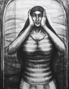 Figurative Dry-pastel Art Drawing title Scream Inside by artist Sumana Nath De