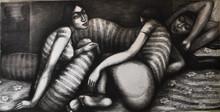 Figurative Dry-pastel Art Drawing title Teen Kanya by artist Sumana Nath De
