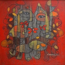 Figurative Mixed-media Art Painting title Adorable Mother Earth by artist Chandana Bhattacharjee