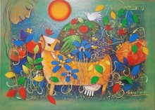 Figurative Mixed-media Art Painting title Adorable Mother Earth 2 by artist Chandana Bhattacharjee
