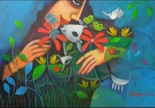 Figurative Acrylic Art Painting title Adorable Mother Nature by artist Chandana Bhattacharjee