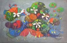 Figurative Acrylic Art Painting title Nature Bliss by artist Chandana Bhattacharjee