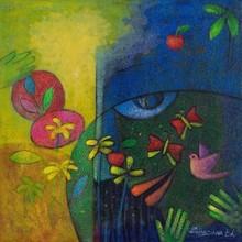 Figurative Acrylic Art Painting title Nature Eye by artist Chandana Bhattacharjee