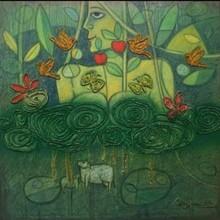 Figurative Mixed-media Art Painting title Nature Godess by artist Chandana Bhattacharjee