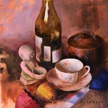 Still-life Oil Art Painting title Gold Rim Tea Cup by artist Amit Srivastava
