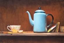 Still-life Oil Art Painting title Lemon Tea by artist Amit Srivastava