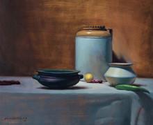 Still-life Oil Art Painting title The Pickle Jar by artist Amit Srivastava