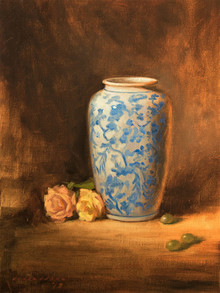 Still-life Oil Art Painting title Vase With Roses by artist Amit Srivastava