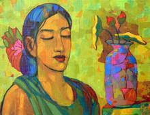 Figurative Acrylic Art Painting title Meditation by artist Avinash Mokashe