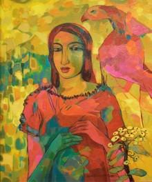 Figurative Acrylic Art Painting title Sandhy With Bird by artist Avinash Mokashe
