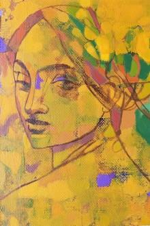Figurative Acrylic Art Painting title Waiting by artist Avinash Mokashe