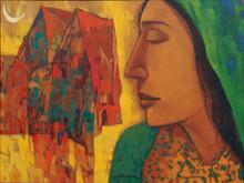 Figurative Acrylic Art Painting title Waiting Size by artist Avinash Mokashe
