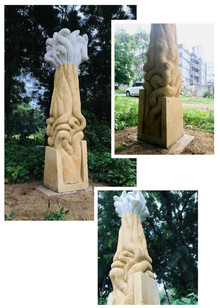 Yellow Sandstone Sculpture titled 'Untitled' by artist Pardeep Kamiya