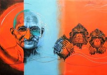 Figurative Acrylic Art Painting title Mahatma Gandhi by artist Kriti K.C. Saxena