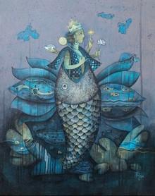 Religious Acrylic Art Painting title Mtsya Avtar 1 by artist Pooja Shelke