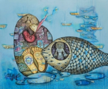 Religious Acrylic Art Painting title Vishnu Avatar by artist Pooja Shelke
