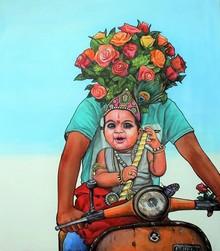 Religious Acrylic Art Painting title Thank You God 3 by artist Gangu Naidu Pv