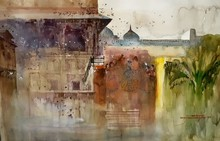 Religious Watercolor Art Painting title Heritage 6 by artist Sayajirao Nangare