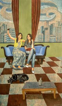 Subhamita Sarkar | Selfie Time Printmaking by artist Subhamita Sarkar | Printmaking Art | ArtZolo.com