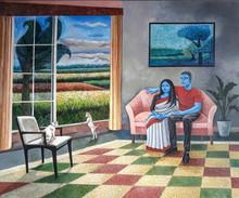 Figurative Acrylic Art Painting title The Relationship 2 by artist Subhamita Sarkar