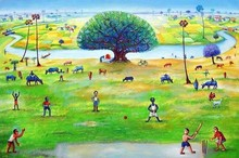 Figurative Acrylic Art Painting title Cricket by artist Sanju Das