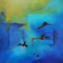 Landscape Acrylic Art Painting title Village by artist Sanjay Dhawale