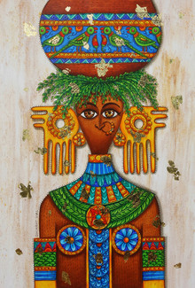 Figurative Mixed-media Art Painting title Tribal Beauty by artist Dhimant Vyas