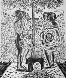 Sunil Darji | Adam And Eve Printmaking by artist Sunil Darji | Printmaking Art | ArtZolo.com