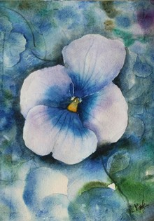 Landscape Watercolor Art Painting title Violet Flower by artist Vivekanand Viswam