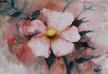Abstract Watercolor Art Painting title Pink Flower by artist Vivekanand Viswam