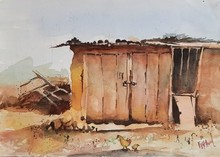 Landscape Watercolor Art Painting title Abandonded Shop by artist Vivekanand Viswam