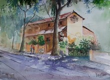 Cityscape Watercolor Art Painting title Dyu Art Cafe by artist Vivekanand Viswam