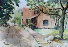 Cityscape Watercolor Art Painting title Bhoomii Ecological college by artist Vivekanand Viswam