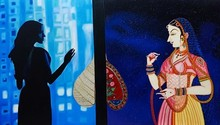 Figurative Oil Art Painting title Journey of Life and Culture V by artist Shrabani Maity