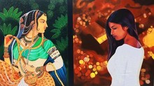 Figurative Oil Art Painting title Journey of Life and Culture VI by artist Shrabani Maity