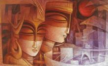 Figurative Acrylic Art Painting title 'Egyptian King and Queen I' by artist Nityam Singha Roy