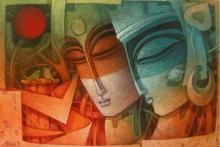 Figurative Acrylic Art Painting title 'Egyptian King and Queen III' by artist Nityam Singha Roy