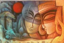Figurative Acrylic Art Painting title 'Egyptian King and Queen IV' by artist Nityam Singha Roy