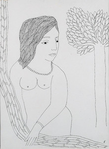 Nude Pen-ink Art Drawing title Untitled by artist Badri Narayan