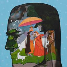 Religious Acrylic Art Painting title Romance In Monsoon 3 by artist Vijay Shelar