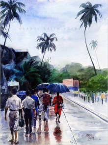 Figurative Watercolor Art Painting title After The Rain by artist Abdul Salim