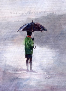 Figurative Watercolor Art Painting title Alone At Rain by artist Abdul Salim